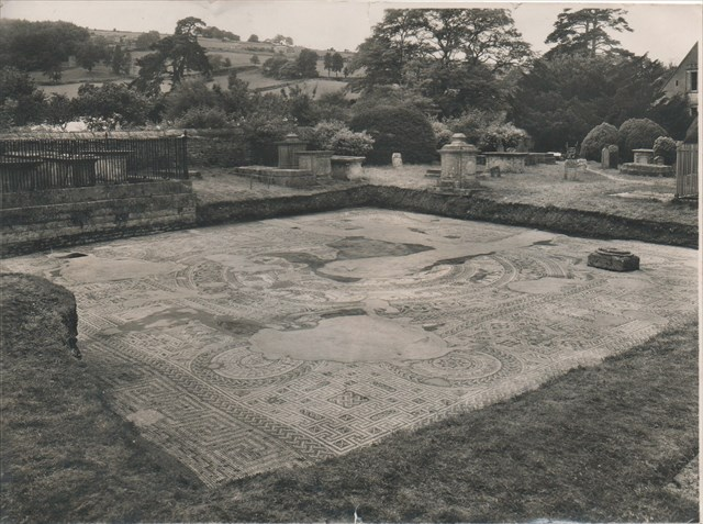 Woodchester Orpheus Pavement in 1973, when it was last uncovered