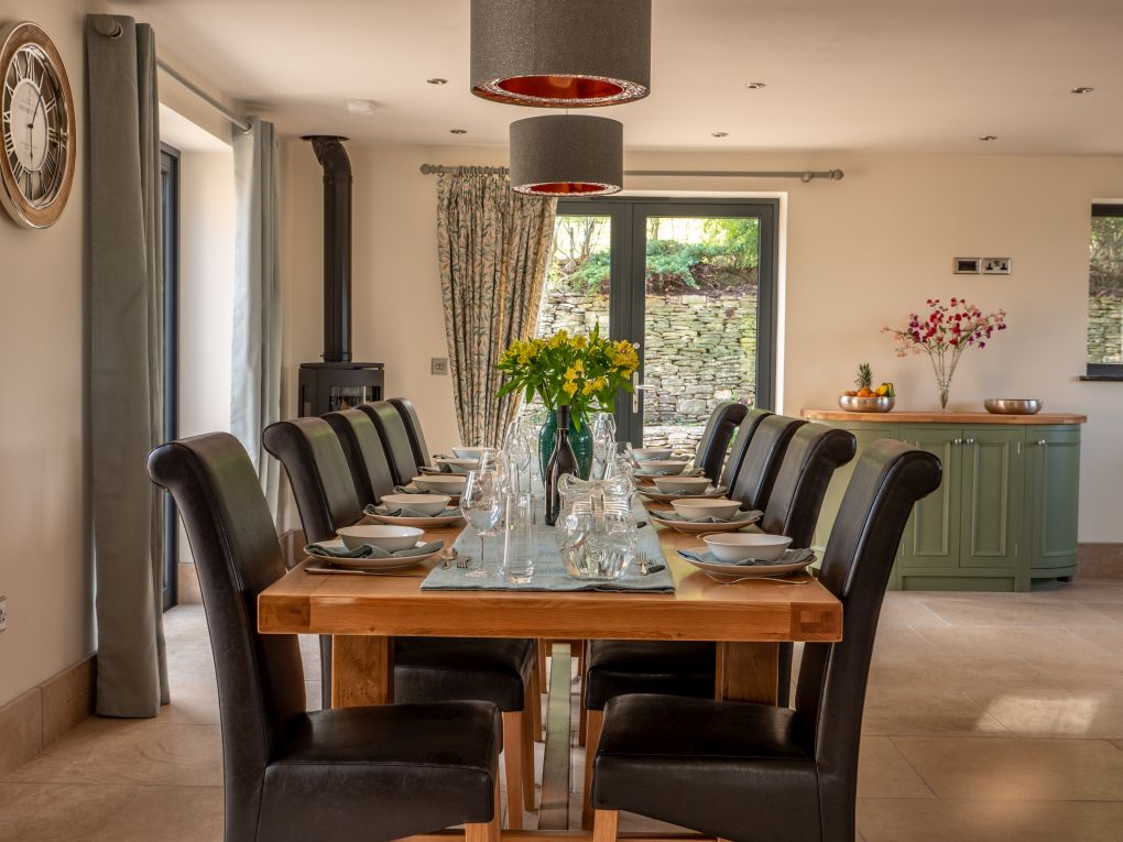 Dining table in kitchen with seating for 12